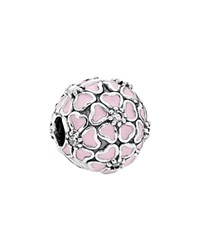 Pandora Design Pandora Clip Sterling Silver Cubic Zirconia And Enamel Cherry Blossom Moments Collection Pink