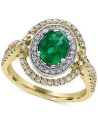 Effy Brasilica Emerald 1 1 8 Ct. T.W. And Diamond 5 8 Ct. T.W. Ring In 14K Gold And White Gold Two Tone