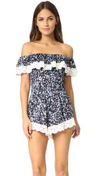 Nightcap X Carisa Rene Floral Dreams Romper Black Navy