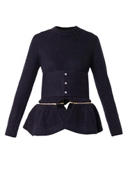 Toga Archives Detachable Peplum Belted Wool Sweater