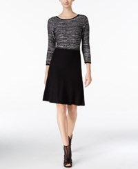 Nine West Sequined Marled A Line Sweater Dress Silver Black