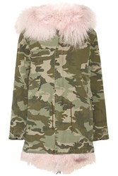 Mr And Mrs Italy Shearling Lined Camouflage Print Cotton Canvas Parka Army Green