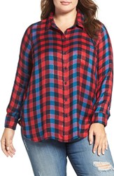 Lucky Brand Plus Size Women's Back Overlay Plaid Shirt Red Multi