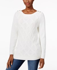 Karen Scott Button Shoulder Knit Pattern Sweater Only At Macy's Winter White