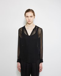 Raquel Allegra Shirred Silk Blouse Black