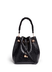 Sophia Webster 'Romy' Debossed Butterfly Leather Bucket Bag Black