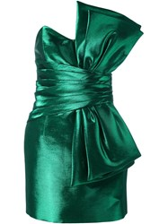 Saint Laurent Strapless Bow Mini Dress Green