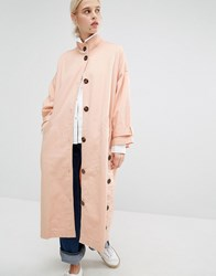 Monki Button Funnel Neck Coat Pink