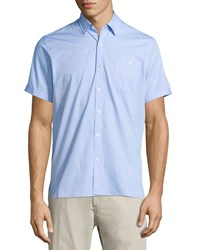 Neiman Marcus End On End Short Sleeve Shirt Lake Blue