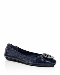 Tory Burch Minnie Embossed Patent Leather Travel Ballet Flats Royal Navy