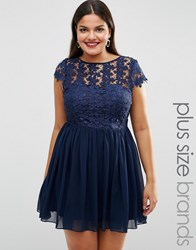 Club L Plus Skater Dress With Crochet Top Navy