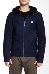 Bench Observation Faux Fur Lined Knit Hoodie Blue