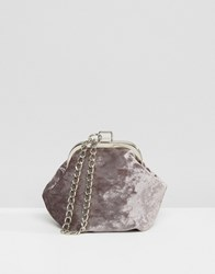 Missguided Velvet Clutch Bag With Chain Handle Grey