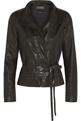 Isabel Marant Barney Leather Wrap Jacket Black