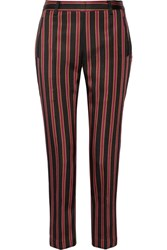 Tomas Maier Striped Satin Twill Straight Leg Pants Black