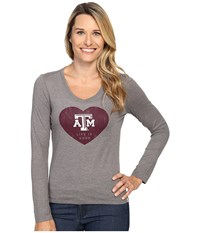 Life Is Good Atm Heart Long Sleeve Tee Grey Women's T Shirt Gray
