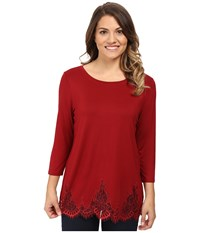 Nydj Petite Lace Hem Knit Blouse Carmine Women's Blouse Red