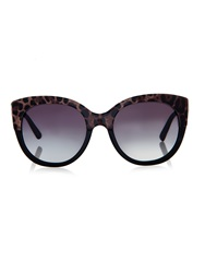 Dolce And Gabbana Half Leopard Print Round Framed Sunglasses