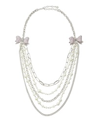 Rj Graziano R.J. Graziano Tiered Crystal Bow Necklace Pink
