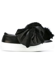 Joshua Sanders Oversized Shearling Bow Sneakers Black