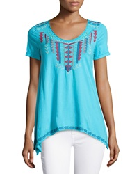 Jwla Geometric Embroidered V Neck Tee Hawaii Rose