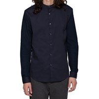 L'estrange Navy Collarless Evening Shirt Blue