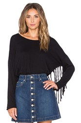 Nation Ltd. Priscilla Fringe Sweatshirt Black