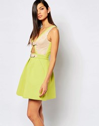 The 8Th Sign Structured Skater Dress With Cut Out Buckle Detail Chartreusenude