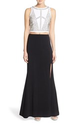 Jump Apparel Women's Embellished Two Piece Gown White