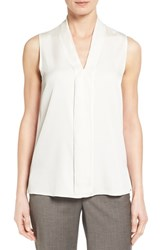 Classiques Entierr Women's Entier Ruffle Front V Neck Stretch Silk Shell