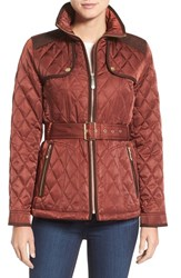 Vince Camuto Women's Diamond Quilted Jacket With Faux Suede Trim Rust