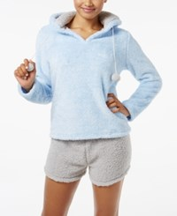 Pj Couture Plush Hooded Top And Shorts Pajama Set Heather Blue