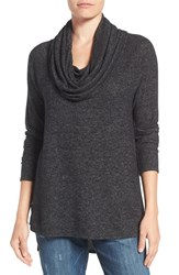 Gibson Women's Cowl Neck High Low Fleece Tunic Black Heather Grey