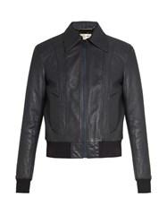 Saint Laurent Leather Bomber Jacket Navy