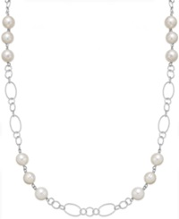 Honora Style Cultured Freshwater Pearl Station Chain Necklace In Sterling Silver 10Mm