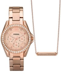 Fossil Women's Riley Rose Gold Tone Stainless Steel Bracelet Watch And Necklace Box Set 38Mm Es4138set