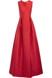 Alexis Dao Perforated Satin Twill Gown Red
