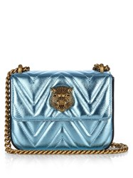 Gucci Broadway Metallic Leather Shoulder Bag Blue