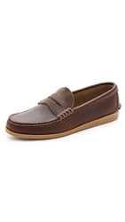 Quoddy Pebbled Penny Loafers Brown