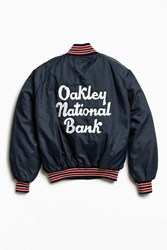 Urban Outfitters Vintage Oakley National Bank Satin Club Jacket Blue Multi