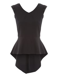 Jane Norman Black Embellished Shoulder Top