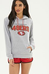 Forever 21 Nfl 49Ers Fleece Hoodie Heather Grey Red