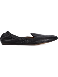 Lanvin Snakeskin Effect Slippers Black