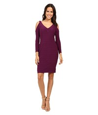 Adrianna Papell Partially Lined Matte Jersey Banded Sheath Dress Winter Blackberry Women's Dress Red