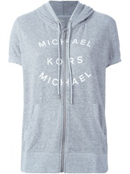 Michael Michael Kors Logo Print Short Sleeve Zipped Hoodie Grey