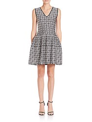 Rvn Floral Circle Jacquard Dress Black White