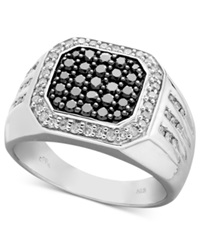 Macy's Men's Black And White Diamond Square Ring In Sterling Silver 1 Ct. T.W.