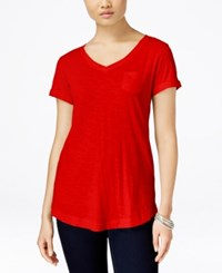 Styleandco. Style Co. V Neck Tee New Red Amore