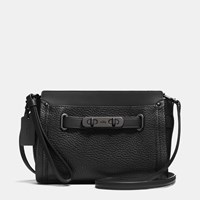 Coach Swagger Wristlet In Pebble Leather Matte Black Black