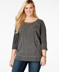 Lucky Brand Plus Size Embroidered Sweatshirt Black